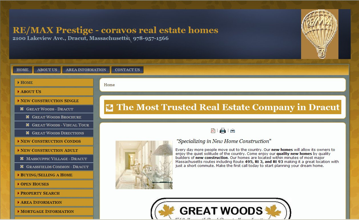 Coravos Real Estate Homes Website